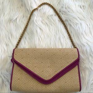 Kotur gold chain shoulder envelope bag raffia